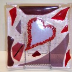 Heart Fused Glass Plate